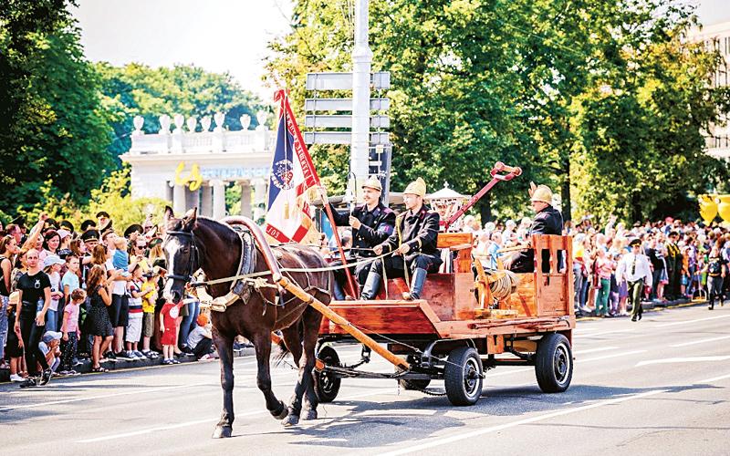 парад, юбилей пожарной службы, праздник