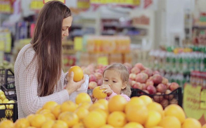 женщина, фрукты, магазин