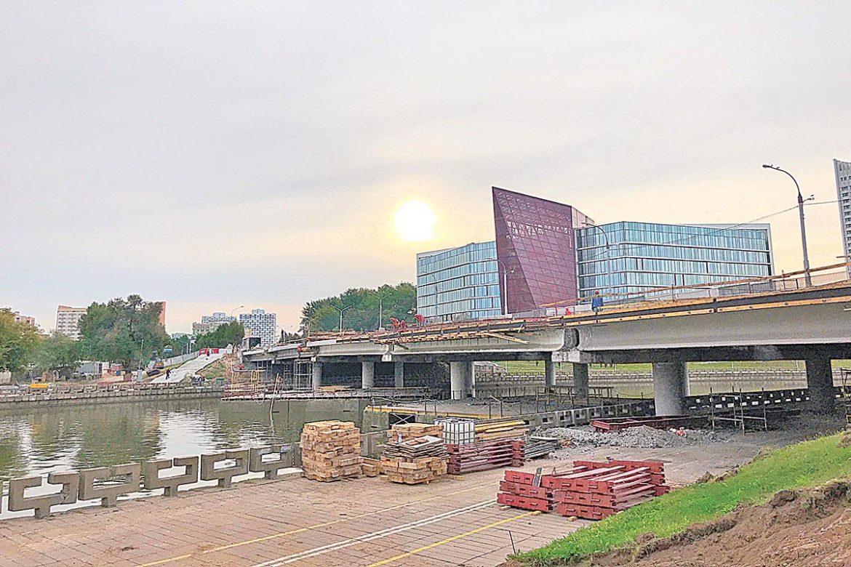 ремонт моста через свислочь