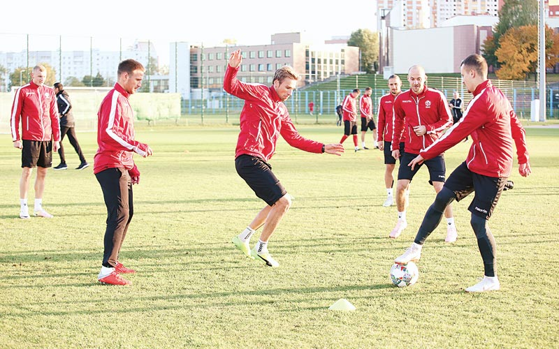 Тренировка футбольной сборной Беларуси