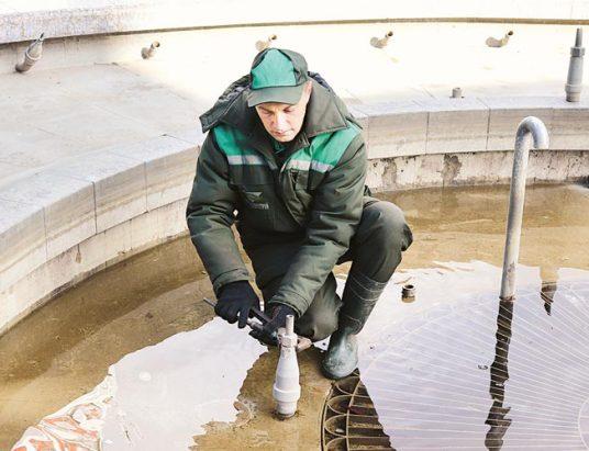 фонтан, подготовка к зиме