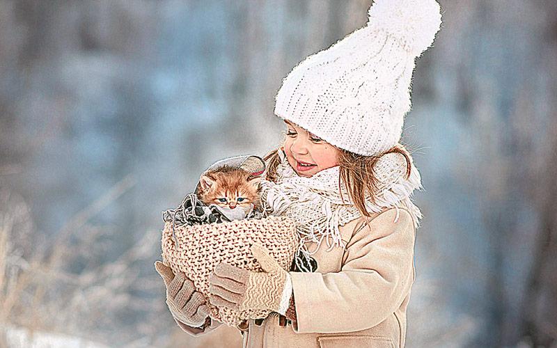 девочка, зима